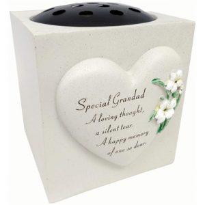 Dad Memorial Lily Heart Graveside Vase Rose Bowl Stone Grey