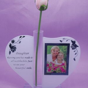 Gift for Daughter Glass Ornament Plaque Photo Frame Poem Rose Handle Heart Shape