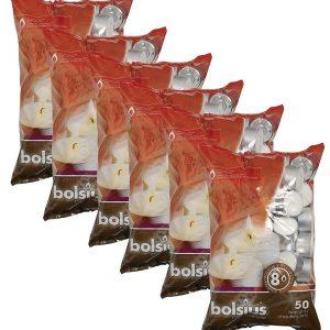 Bolsius 103630519700 Tealight, Paraffin Wax, White, Pack of 50 (6)