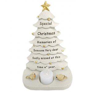 Someone Memorial Christmas Tree With Flickering Tea Light Graveside