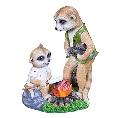 "GardenKraft 20780""Campfire Papa and Baby Ollie Meerkats Solar Light"" Decorative Garden Ornament"