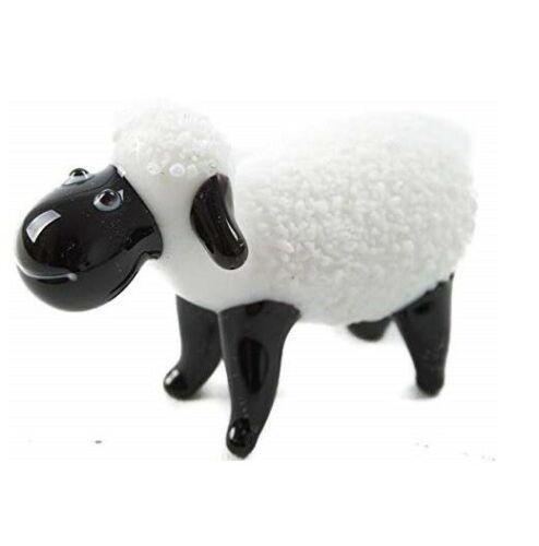 Glass Standing Sheep Lamb Garden Ornament Animal Patio Sculptures White & Black