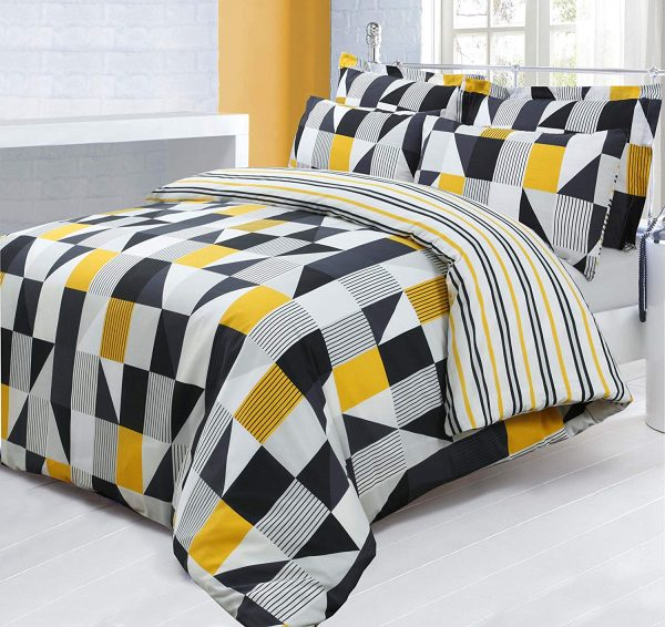 King Size Printed Reversible Geometric Jazz Yellow/Black Duvet Cover & Pillowcase Bedding Set