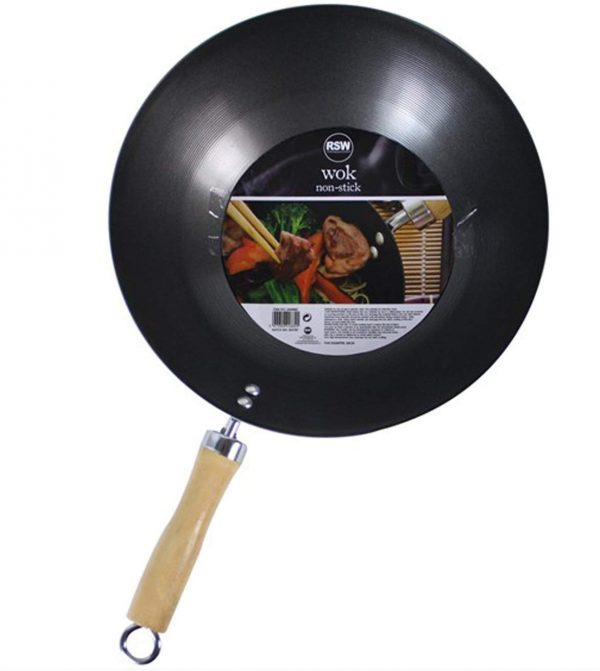 """Non Stick Carbon Steel Wok 11"""" / 28cm Diameter for Chinese Cooking & Frying"""