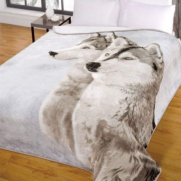 Dreamscene Huskie Mink Throw Blanket, Multi-Colour, Double, 150 x 200 cm