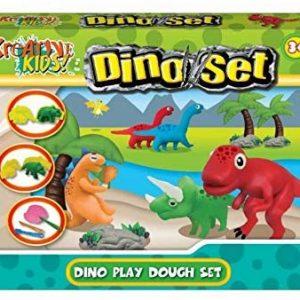 Dinosaur Dough Play Set - Boys Creative Toys - Includes 4 Colours Of Dough, Dinosaur Moulds + Accessories
