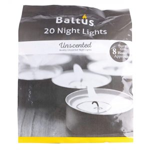 Baltus Unscented Wax Night Lights Tealights Candles 8 Hour Burn Time Pack Of 20