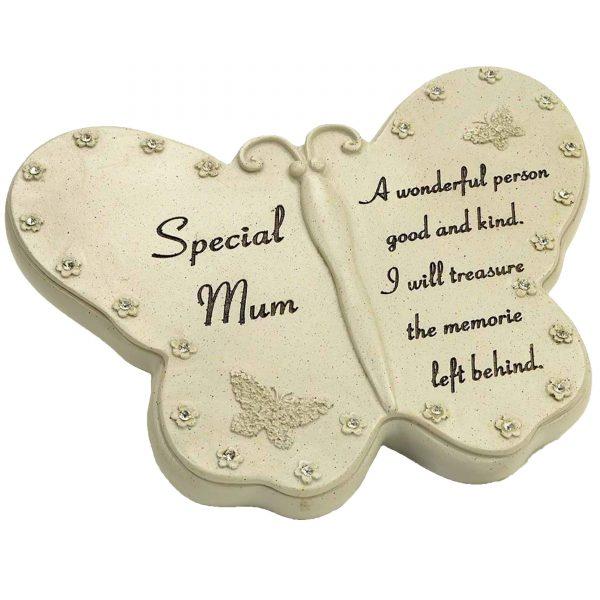 Special Mum Diamante Butterfly Graveside Grave Memorial Plaque Ornament
