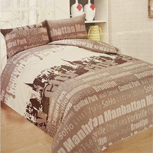 3 Pieces Luxury Printed Duvet Set New York City Grey King Size