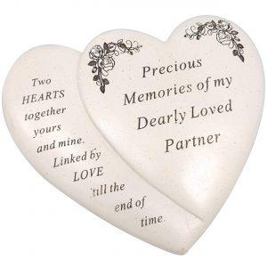 Partner Double Heart Flower Graveside Memorial Ornament Verse Plaque