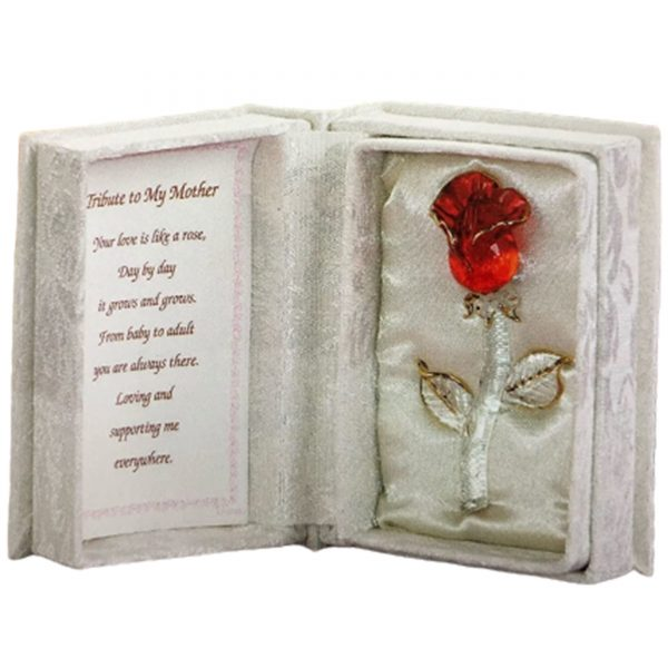 Glass Red Rose In White Box Mother Gift