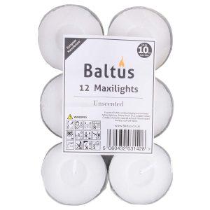 Baltus Pack Of 12 Unscented Wax Maxi Lights Tealights Candles Upto 10 Hrs Burn