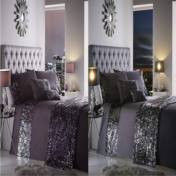 Dazzle Glamorous Sequin Duvet Cover Bed Set, 100% Polyester, Amethyst Purple, Double