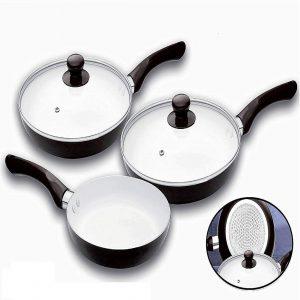 BLACK 5 Piece Ceramic Non-Stick Frying Pan With Glass Lid 20 cm, 24 cm, 28 cm