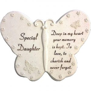 Special Daughter Butterfly Book Memorial Ornament with Diamante Decoration