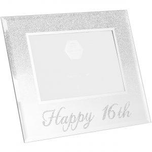 Happy 16th Silver Glitter Birthday Photo Frame Gift