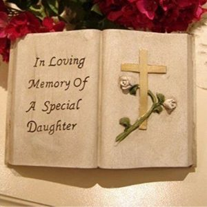 In Loving Memory of a Special Daughter Memorial Open Book with Gold Cross and White Rose