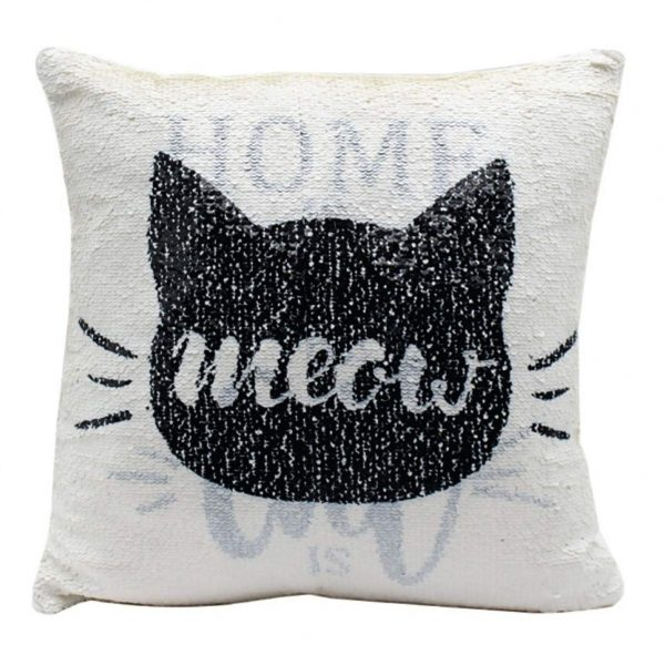 Home is where the cat is Glitter Sequin Cushion - Filled Cushion Pillow