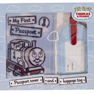 Hallmark Thomas and Friends My First Passport Holder Case Cover Protector Organiser and 1st Luggage Tag Waterproof Set UK Travel Ideal For Baby Shower Boy Child Christening Present Blue/Red