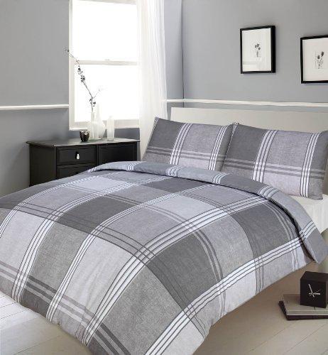 Hamilton Check Stripe Duvet Cover Bedding Set, Double, Slate/Grey