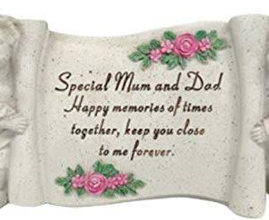 Special Mum&Dad Cherub Scroll Decoration Plaque Tribute
