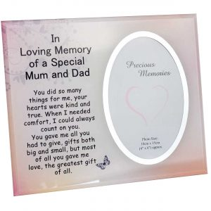 Mum and Dad Memorial Glass Mirror Photo Frame