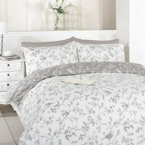 Bird Toile Duvet Cover Set Taupe King Size Grey Cotton & Polyester