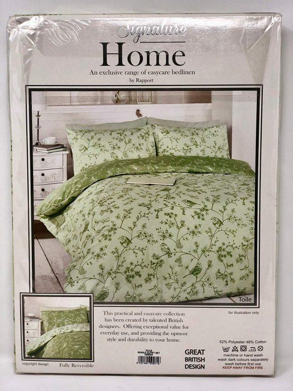 Home Bird Toile Green King Size Cover Pillowcase Set Bedding, Cotton and Polyester