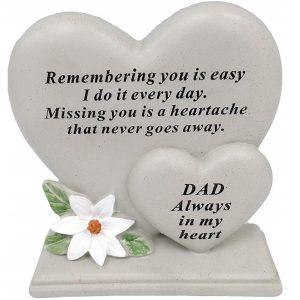 Dad Double Heart Dad Memorial Flower Graveside Remembrance Plaque Garden Tribute