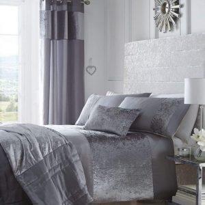 Boulevard Velvet Strip Quilt Duvet Cover and 2 Pillowcase Bed Set, Polyester, Grey, Double