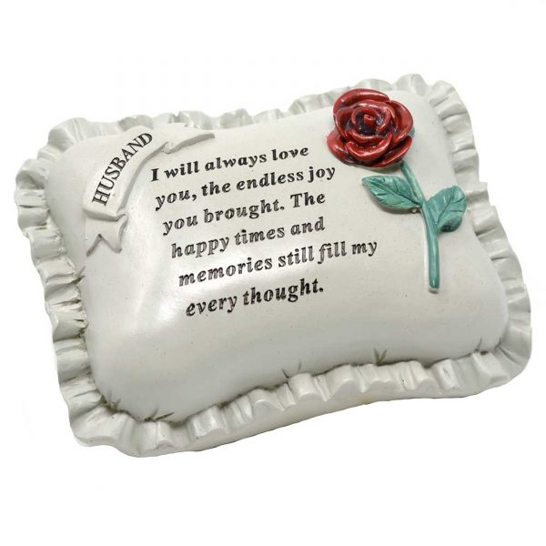 Special Husband With Rose Pillow Graveside Ornament Memorial Plaque