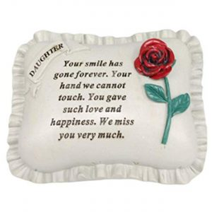 Special Daughter With Rose Pillow Graveside Ornament Memorial Plaque