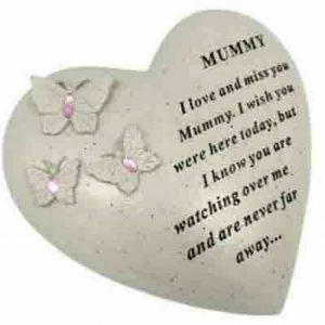 Butterfly Gem Heart Graveside Mummy Memorial Ornament Plaque Garden Grave Tribute
