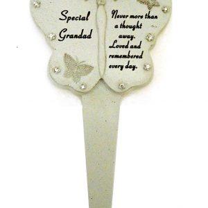 Grandad Diamante Memorial Butterfly Stake Stone Grave Ornament