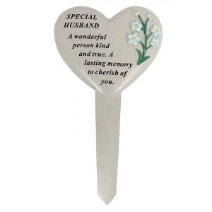David Fischhoff Husband Forget Me Not Stake Poly Resin Cream 13.5 x 1 x 23 cm