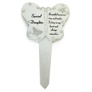 Daughter Diamante Memorial Butterfly Stake Garden Stone Plaque Grave Ornament Pushes in Ground
