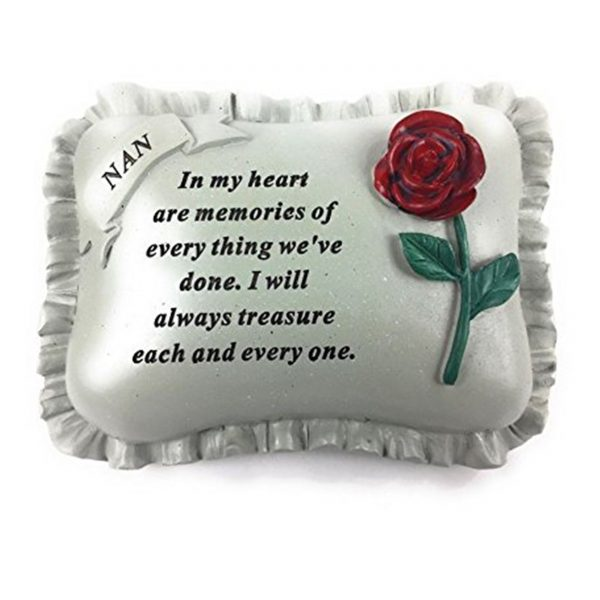 Special Nan With Rose Pillow Graveside Ornament Memorial Plaque