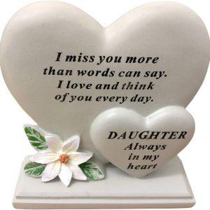 Daughter Double Heart Plaque Poly Resin Cream 17.5 X 5.5 X 19 Cm
