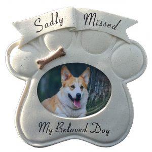 Memorial Sadly Missed Dog Paw Frame