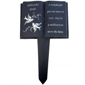 Dad Slate Grey Memorial Book Stake – Dove Detail – Grave Plaque Spike Marker Tribute