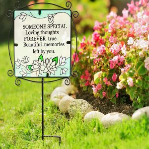 Glass Graveside Memorial Someone Special Plaque Metal Stake Extendable Outdoor Ornament