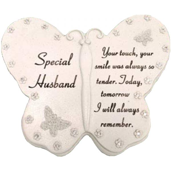 Special Husband Diamante Butterfly Graveside Grave Memorial Plaque Ornament