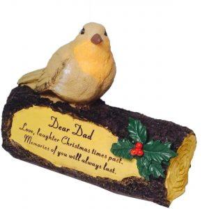 Dad Memorial Robin on Log Christmas Graveside Ornament