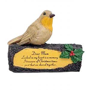 Mum Memorial Robin on Log Christmas Graveside Ornament