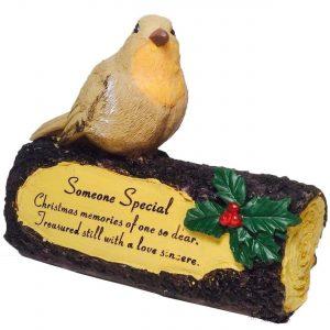 Someone Memorial Robin on Log Christmas Graveside Ornament