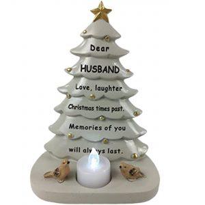 Husband Memorial Christmas Tree With Flickering Tea Light Graveside