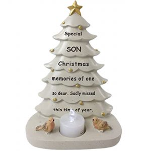 Son Memorial Christmas Tree With Flickering Tea Light Graveside