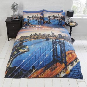 New York City New Photographic City of Dreams Quilt Duvet Cover and 2 Pillowcase Bed Set, Polyester-Cotton, Blue, Double