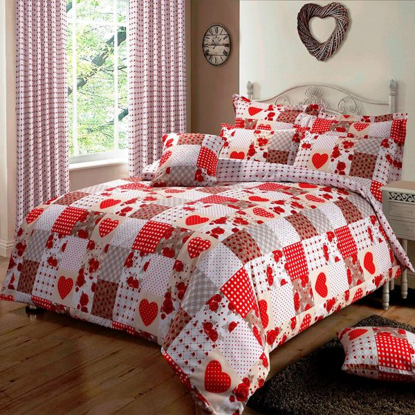 Single Bed Patchwork Love Heats Red Duvet Quilt Cover Bedding Set