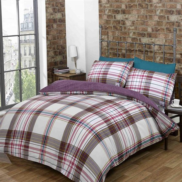Red White Plum Checked Double Quilt Duvet Cover & Pillowcases Bedset